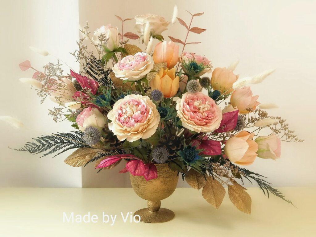 aranjament floral flori din hartie